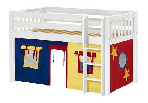 Pablo's White Twin Size Low Playhouse Loft Bed