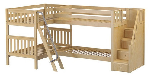 Calumet Natural Twin Sleeps 4 L Shaped Bunk Beds with Stairs