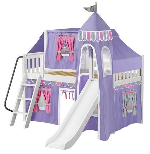 Purple Princess White Girls Loft Bed