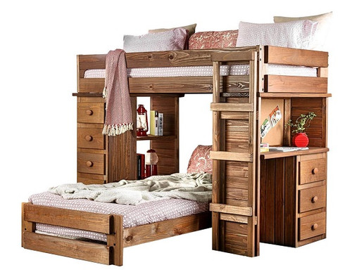 Woodlands Brown Cherry L Shaped Bunk Beds
