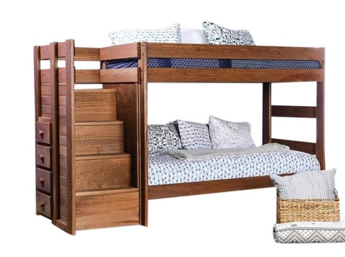Woodlands Brown Cherry Bunk Beds with Stairs