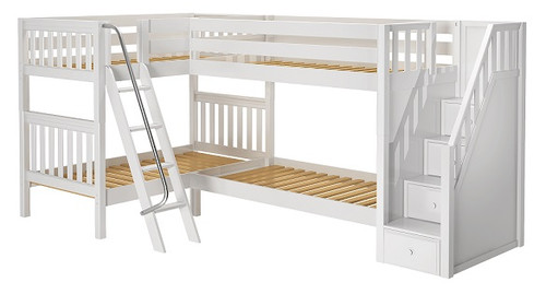 Calumet White Twin Sleeps 4 L Shaped Bunk Beds with Stairs
