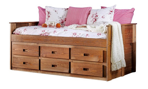 Woodlands Brown Cherry Twin Daybed with Storage