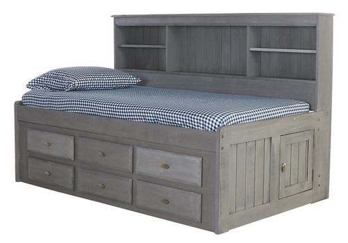 Hester Chimney Gray Big Bookcase Twin Bed with Storage