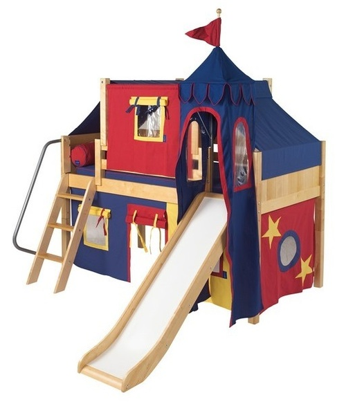 Freddie's Chestnut Twin Fun Fort Bed with Slide