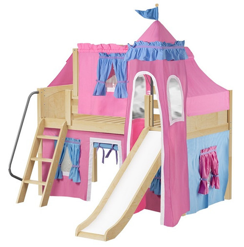My Sweet Princess Natural Twin Girls Castle Bed with Slide