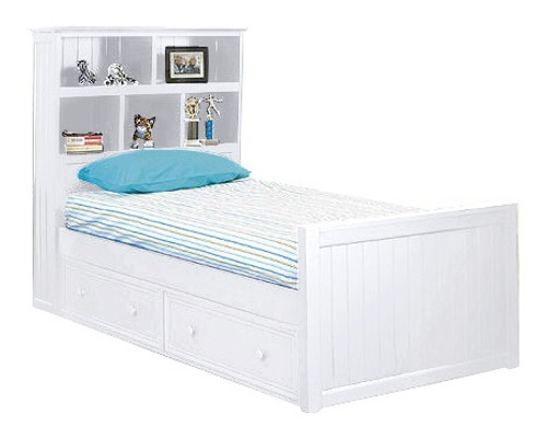 Beatrice White Twin Bookcase Bed