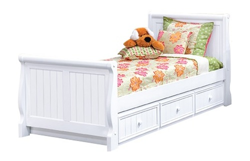Beatrice White Twin Sleigh Bed