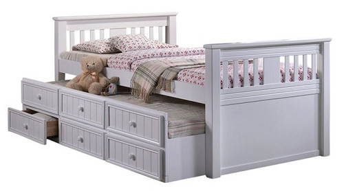 Brockton White Twin Trundle Bed with Storage