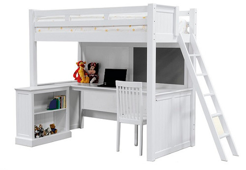 Foster White Twin Loft Bed with Desk