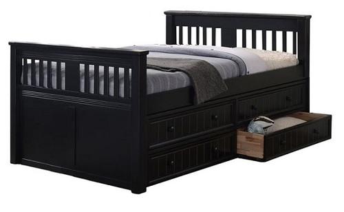 Brockton Black Twin Captains Bed