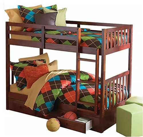 Ferguson Brown Cherry Twin over Twin Bunk Beds