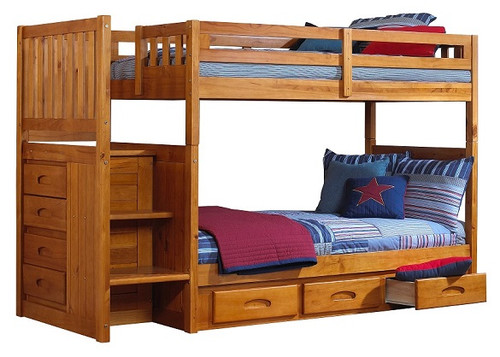 Stoney Creek Honey Twin over Twin Bunk Beds with Stairs