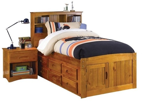 Stoney Creek Honey Bookcase Twin Captains Bed
