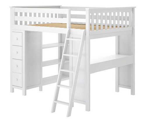 Chelsea White Full Loft Bed with Desk and Storage