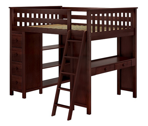 Silas Espresso Full Loft Bed with Desk and Storage