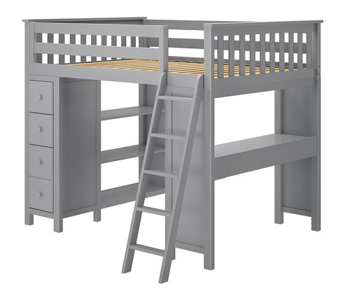 Almere Gray Full Loft Bed with Desk and Storage