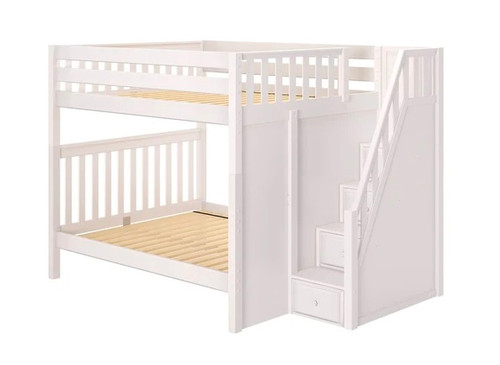 Fremont White Queen Bunk Beds with Stairs