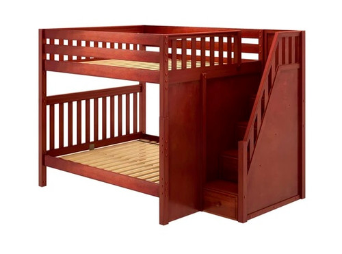 Fremont Chestnut Queen Bunk Beds with Stairs