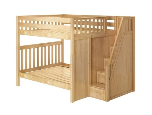 Fremont Natural Queen Bunk Beds with Stairs
