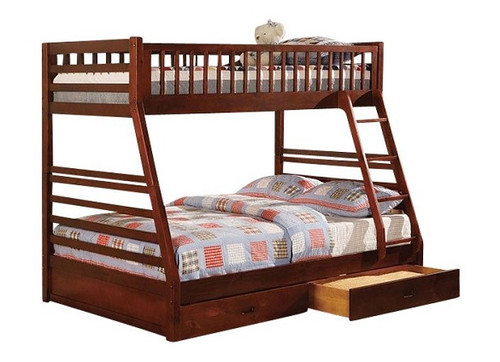 Lomax Cherry Twin over Full Bunk Bed with Storage