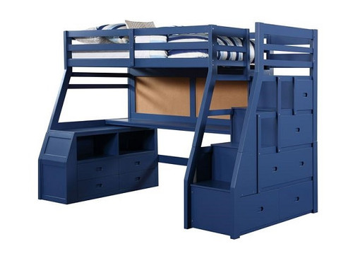 Emmett Blue Twin Loft Bed with Stairs and Desk