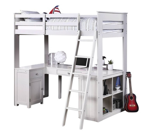 Keynes Gray Loft Bed with Desk and Storage