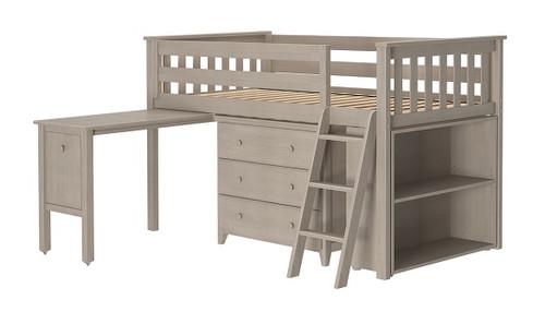 Kivik Sand Low Loft Bed with Desk and Dresser