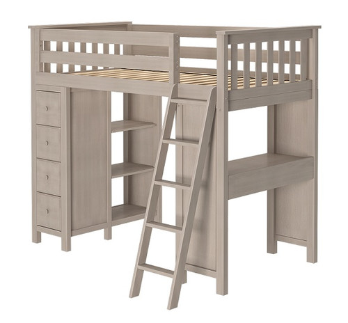 Kivik Sand Twin Loft Bed with Desk and Storage Right Side Angled View