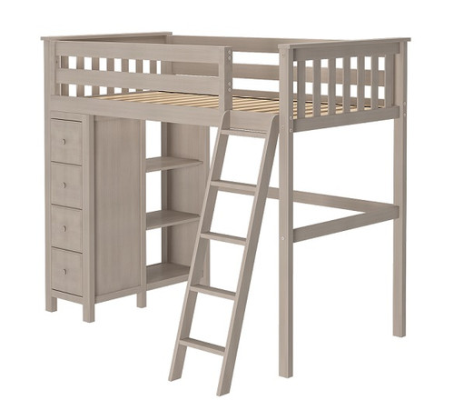 Inez Sand Twin Loft Bed with Storage