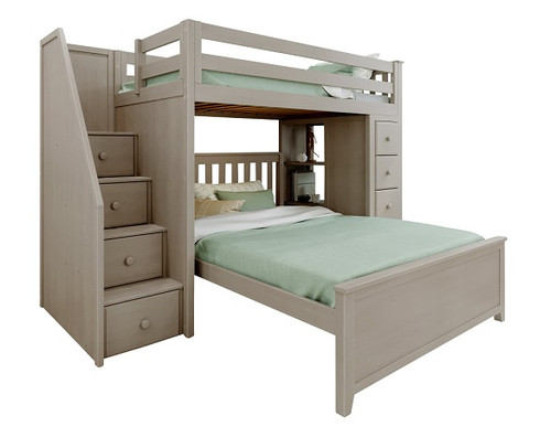 Kivik Sand Twin over Full L Shaped Bunk Beds with Storage