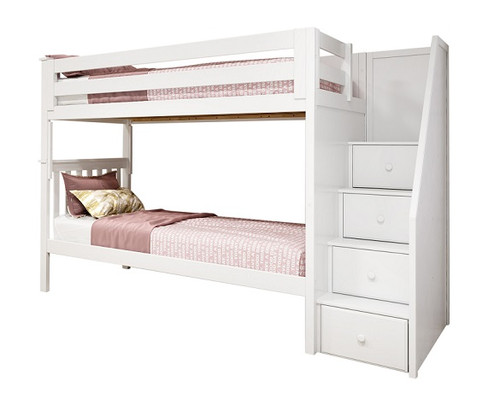 Anaya White Twin Bunk Beds with Stairs