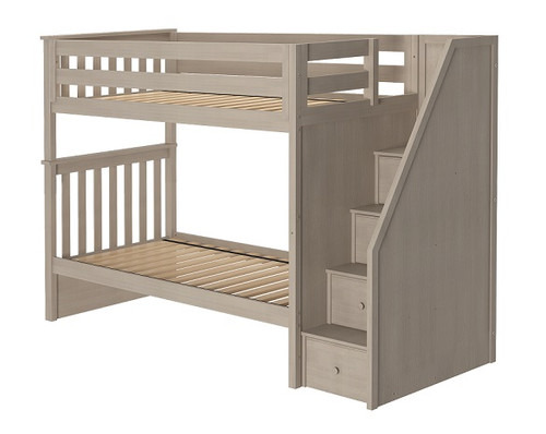 Inez Sand Twin Bunk Beds with Stairs