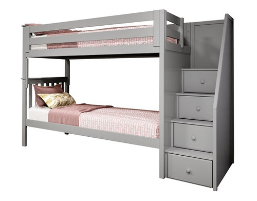 Rylan Gray Twin Bunk Beds with Stairs
