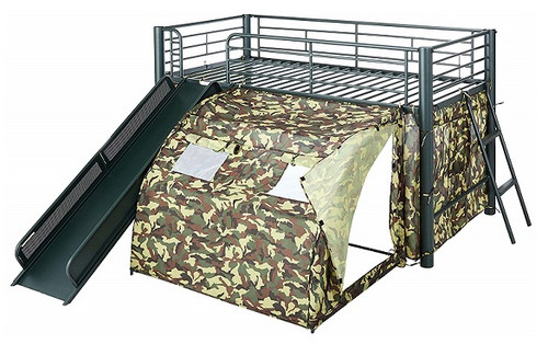 Little Soldier Kids Twin Size Camouflage Loft Bed with Slide