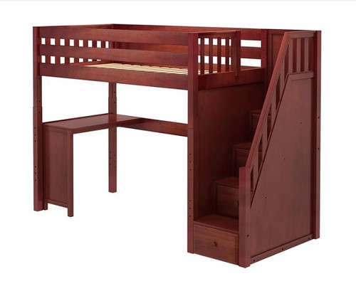 Irving Chestnut Twin Loft Bed with Stairs and Desk Slatted Ends