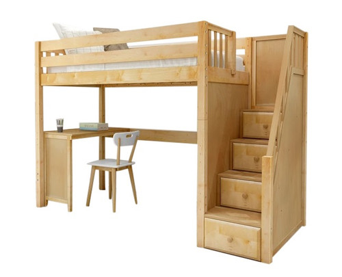 Irving Natural Loft Bed with Stairs and Desk