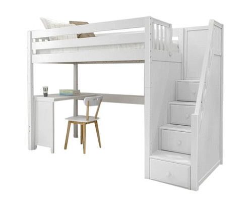 Irving White Loft Bed with Stairs and Desk