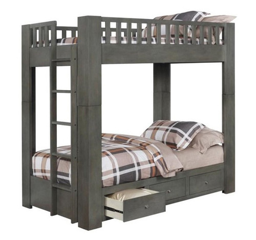 Draco Gray Twin Bunk Beds with Storage