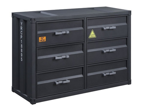 Shipping Container Gray Metal 6 Drawer Dresser