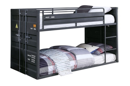 Shipping Container Gray Low Bunk Beds