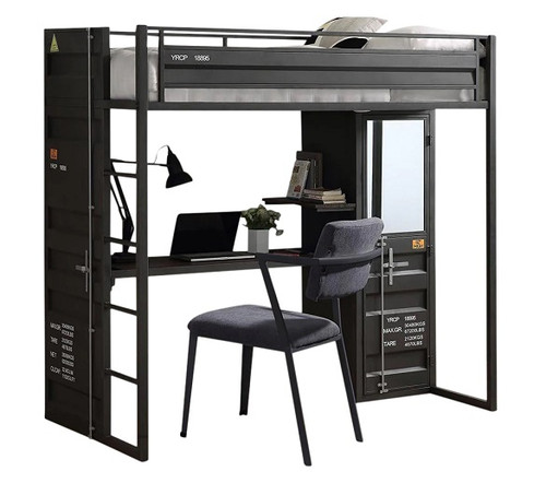 Shipping Container Gray Loft Bed with Desk and Storage