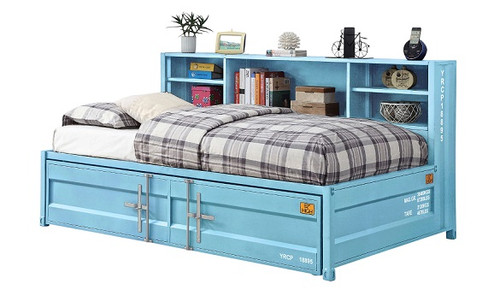 Shipping Container Big Bookcase Aqua Twin Daybed with Trundle