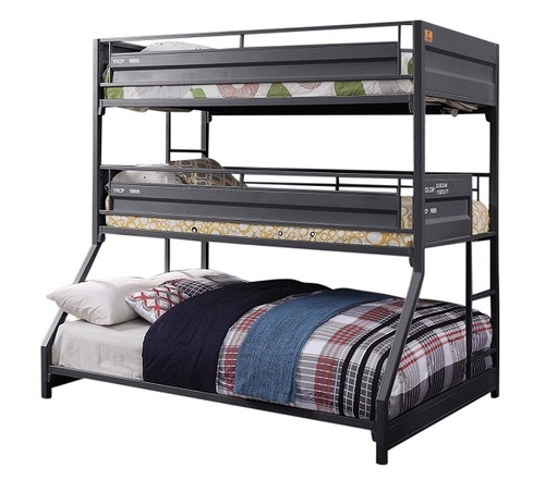 Shipping Container Gray Three Bunk Bed