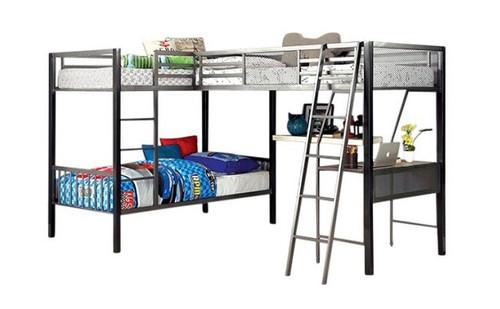 Loren Twin Triple L Shaped Loft Bunk Beds