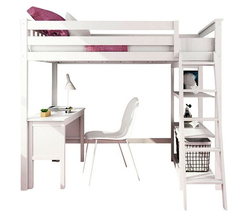 Wilde White Twin Loft Bed with Desk