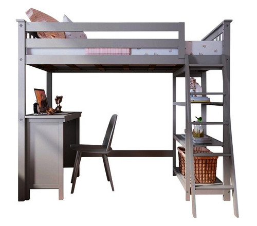 Grandview Gray Twin Loft Bed with Desk