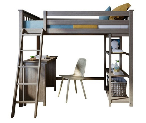 Chilton Brushed Clay Twin Loft Bed with Desk