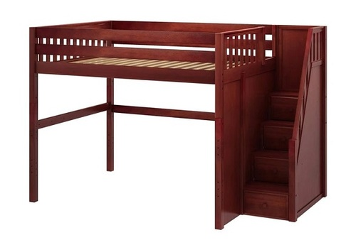 Hayes Chestnut Queen Loft Bed with Stairs