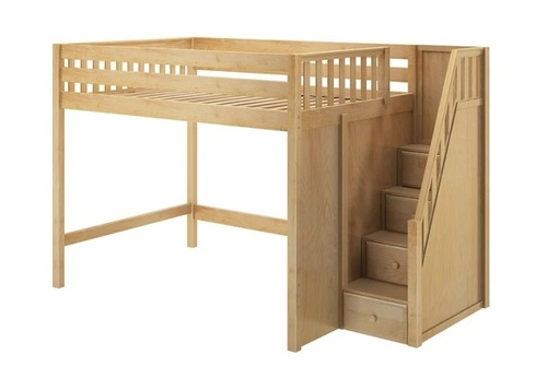 Hayes Natural Queen Loft Bed with Stairs